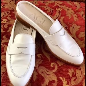 AGL Italy white penny loafer mule slides sz 39/9